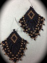 designs by roselyn, bead weaving, seed beads, Swarovski crystals, earrings (thumbnail)