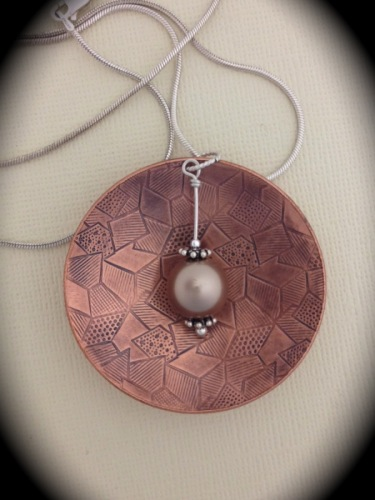 texture, patina, copper, sterling, disc, designs by roselyn