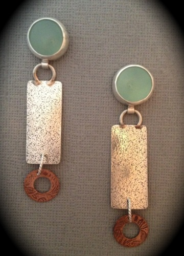 chalcedony, designs by roselyn, earrings, silver, copper, texture, patina
