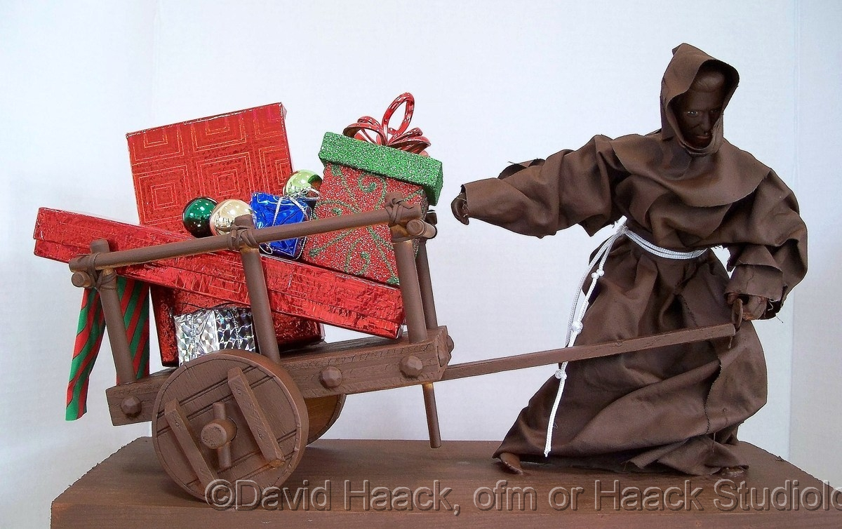 Friar delivering Christmas gifts  (large view)