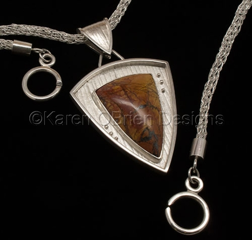 Fault Line Shield Pendant by Karen O'Brien Designs