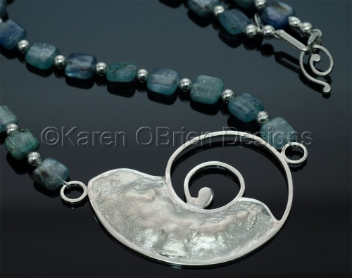 Nautilus Necklace with Blue Kyanite Beads