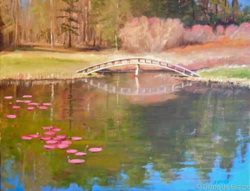 Lilies and Bridge, Deer Isle ME
