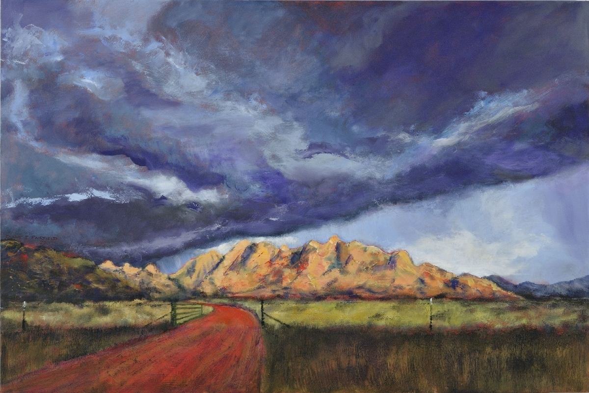 Contemporary southwest landscape and skyscape painting looking through the east gate toward Cochise Stronghold in the Dragoon Mountains (large view)