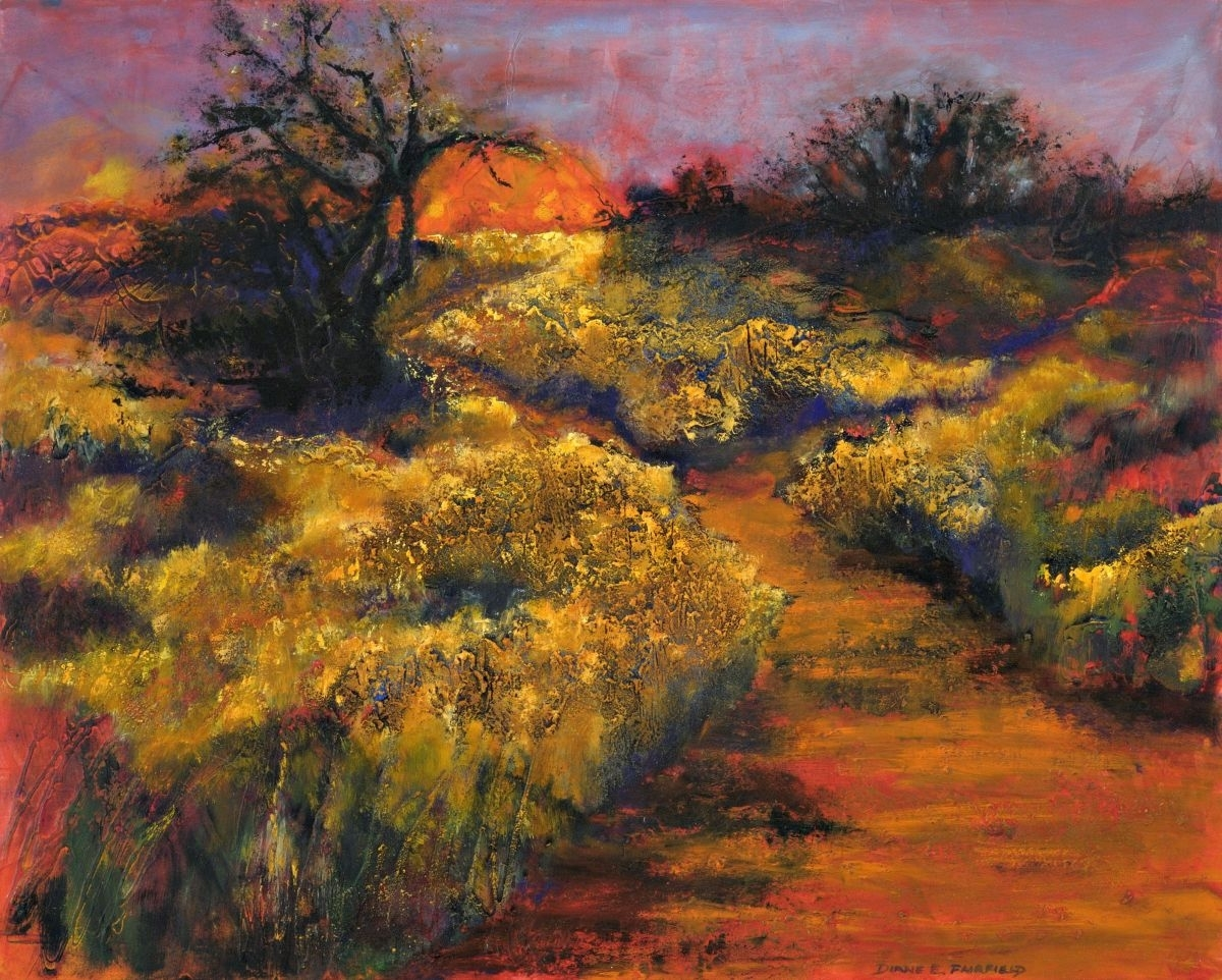 Heavily textured oil and mixed media painting capturing the unique quality of light and shadow cast by the setting sun in the high desert grasslands of the southwest.  (large view)