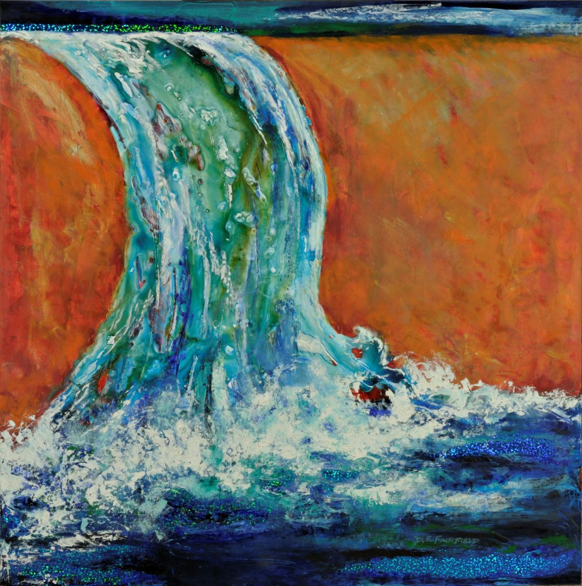 Abstract of a waterfall expressing Psalm 42:7.  Light diffracting and reflecting materials are incorporated in painting (large view)