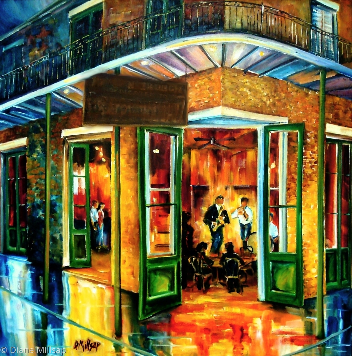 painting jazz at the maison bourbon original art by diane millsap. Black Bedroom Furniture Sets. Home Design Ideas