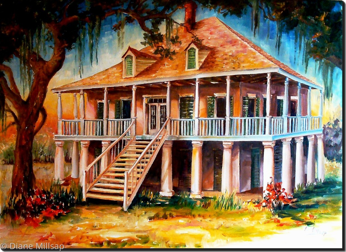 Painting old louisiana planter 39 s house original art for Oil paintings of houses