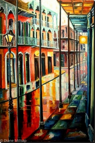 6 Ft High Oil Painting of Royal Street - SOLD
