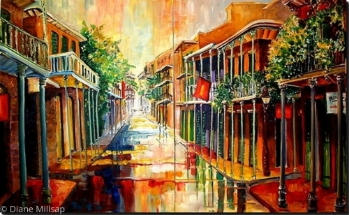 French Quarter in the Rain (Diptych) - SOLD