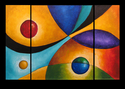 Painting--Acrylic-AbstractThe Junction (Original acrylic on canvas) Three panel.