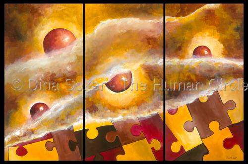 Revealing Life (original acrylic on canvas) Three panel painting (large view)