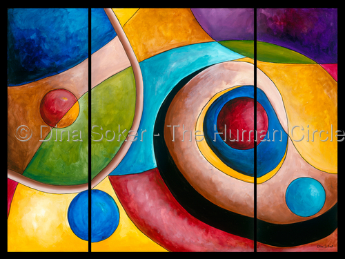 Being a Woman (Original acrylic on canvas)  Three panel painting (large view)