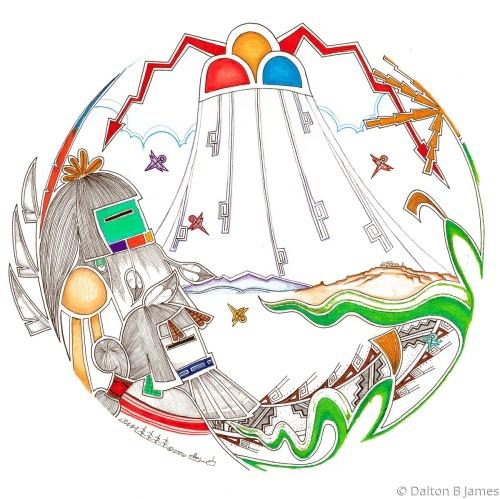 Longhair and Katsin'mana by Dalton Buddy James - Original Hopi Art