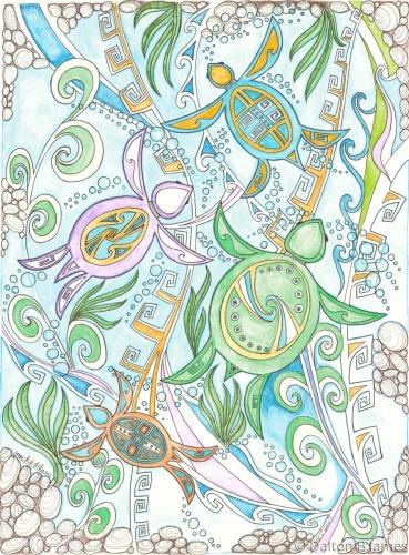 Turtles In the Deep Blue by Dalton Buddy James - Original Hopi Art