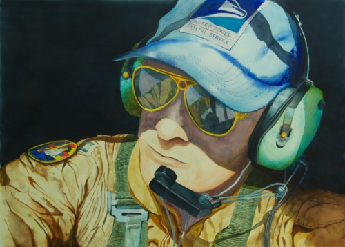 Close up portrait of a Navy COD (carrier onboard delivery) pilot.  Pilot is wearing a US Postal workers cap, has on head gear, ear phones and boom mike. Colors are predominately ochres with the background in Paynes Gray.  (large view)