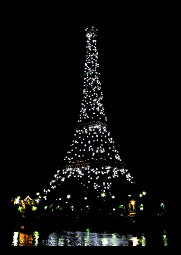 Strobe Lights Illuminate the Eiffel Tower, 1am