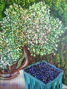 Hydrangeas with Blueberries on Bench (thumbnail)