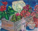 Still Life with Plantings, Vintage Crate and Objet (thumbnail)