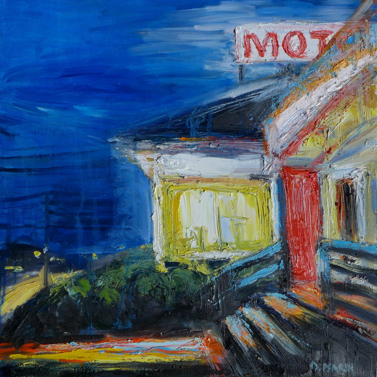 a motel with one bright window on the night (large view)