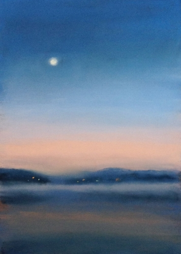 Painting--Pastels-Landscape2324 Moon Over the Lake 1