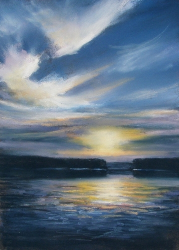 Painting--Pastels-Landscape2296 Sunset Lakeside 24