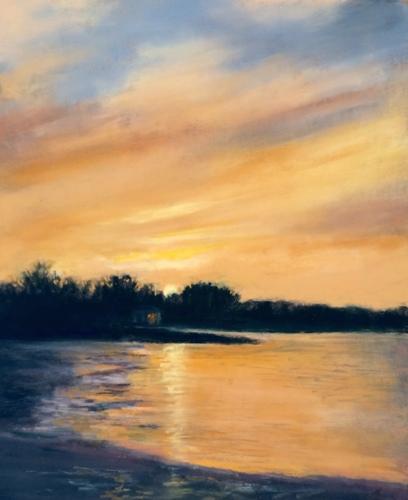 Painting--Pastels-Landscape2791 Sun Setting on Darek