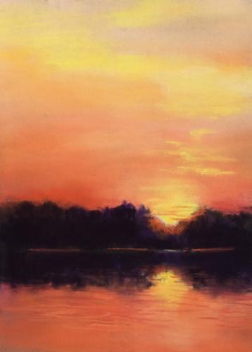 Painting--Pastels-Landscape2763 Lakeside Glow
