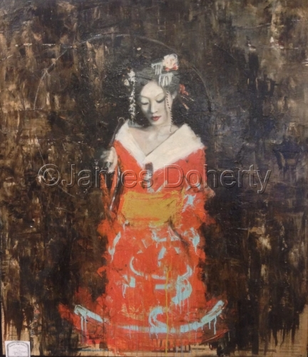 Geisha in orange and blue