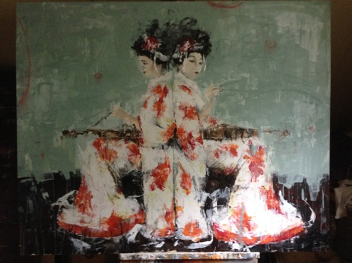 Two geishas with violins
