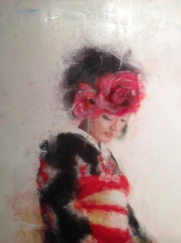 geisha with red flowers close up