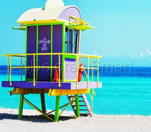 Purple and Green Life Guard Shack, Miami Beach
