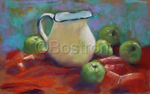 Pitcher with Green Apples