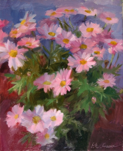 Painting--Oil-FloralComet Pink Daisies