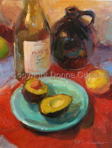 Painting--Oil-Still LifeAvocado and Brown Jug