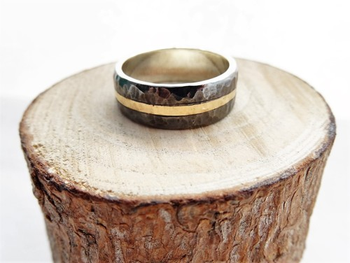 10mm wide ecosilver and gold hammered band.
