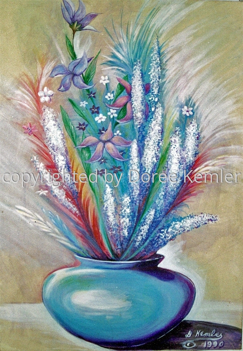 Abstract acrylic painting by Doree S. Kemler entitled Untitled Abstract Floral #1. (large view)