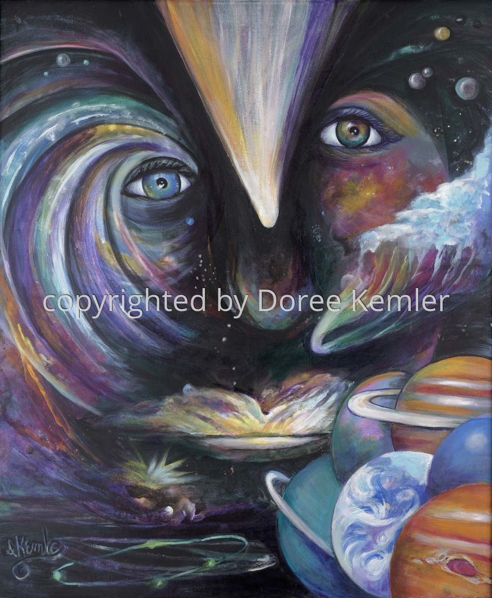 "Abstract acrylic painting by Doree S. Kemler entitled ""The Force."" (large view)"