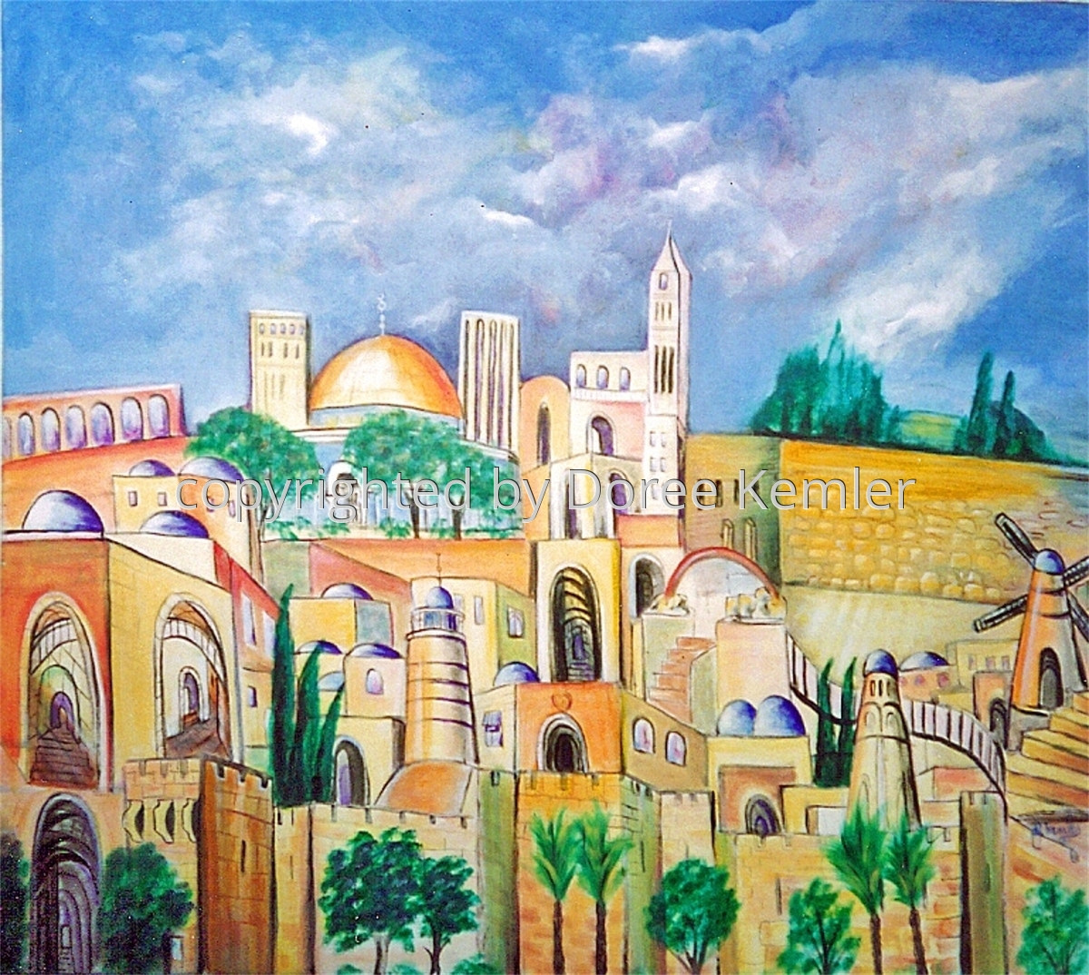"Abstract acrylic painting by Doree S. Kemler entitled ""Jerusalem."" (large view)"