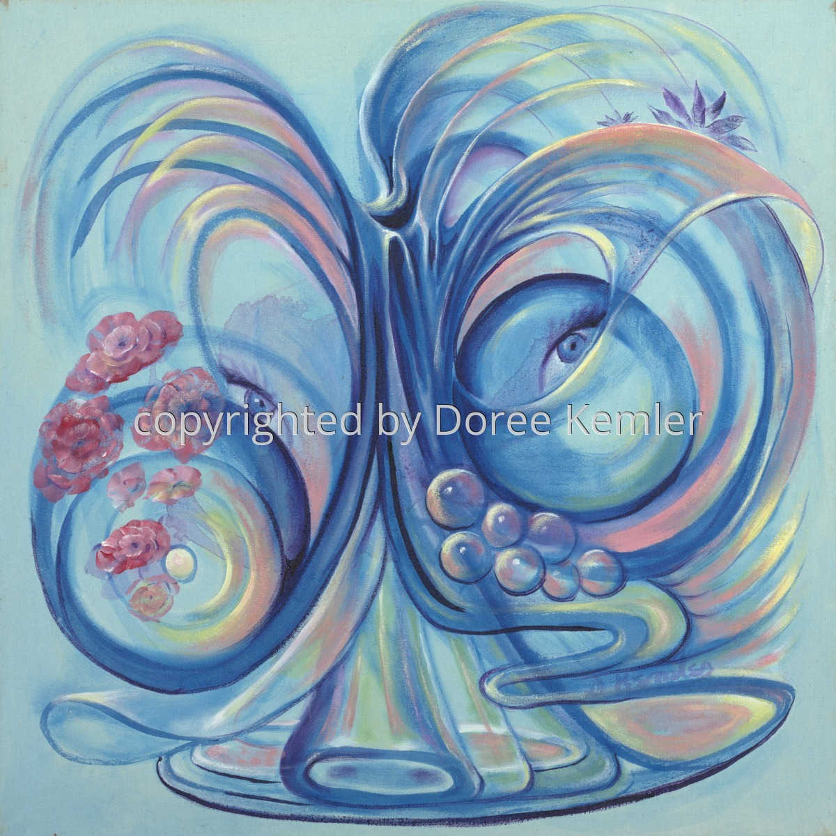 """Abstract acrylic painting by Doree S. Kemler entitled """"The Bugler."""" (large view)"""