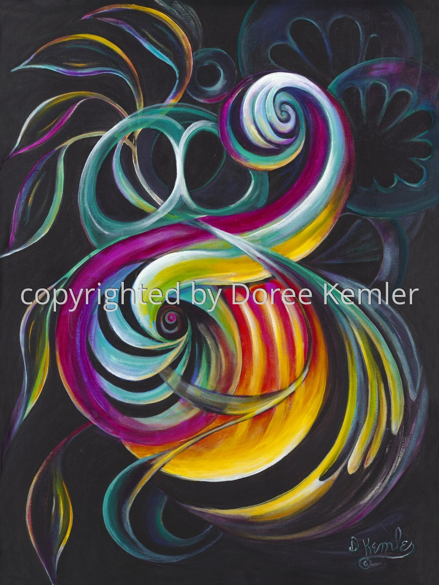 Abstract acrylic painting by Doree S. Kemler entitled Flash Dance. (large view)