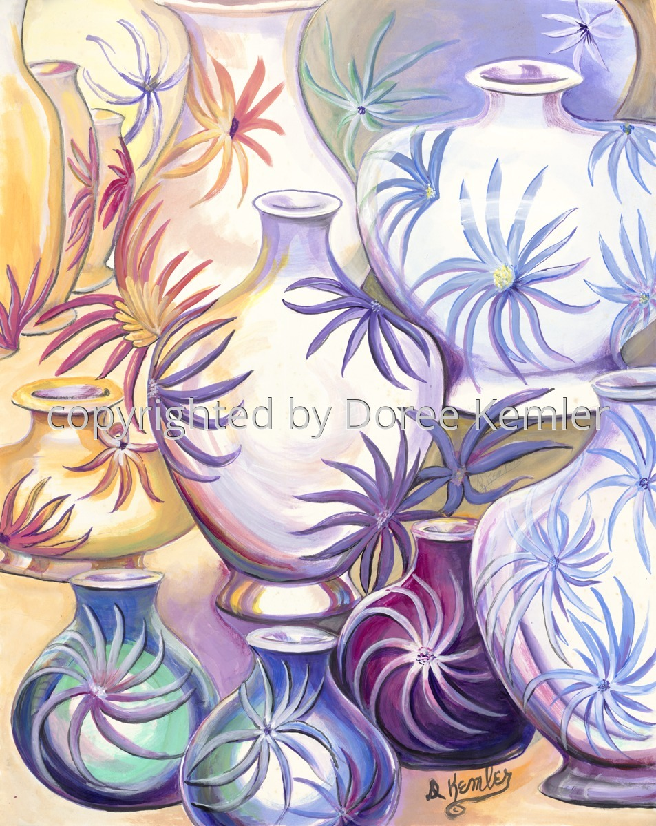 Abstract watercolor painting by Doree S. Kemler entitled A Gathering of Vases 2. (large view)