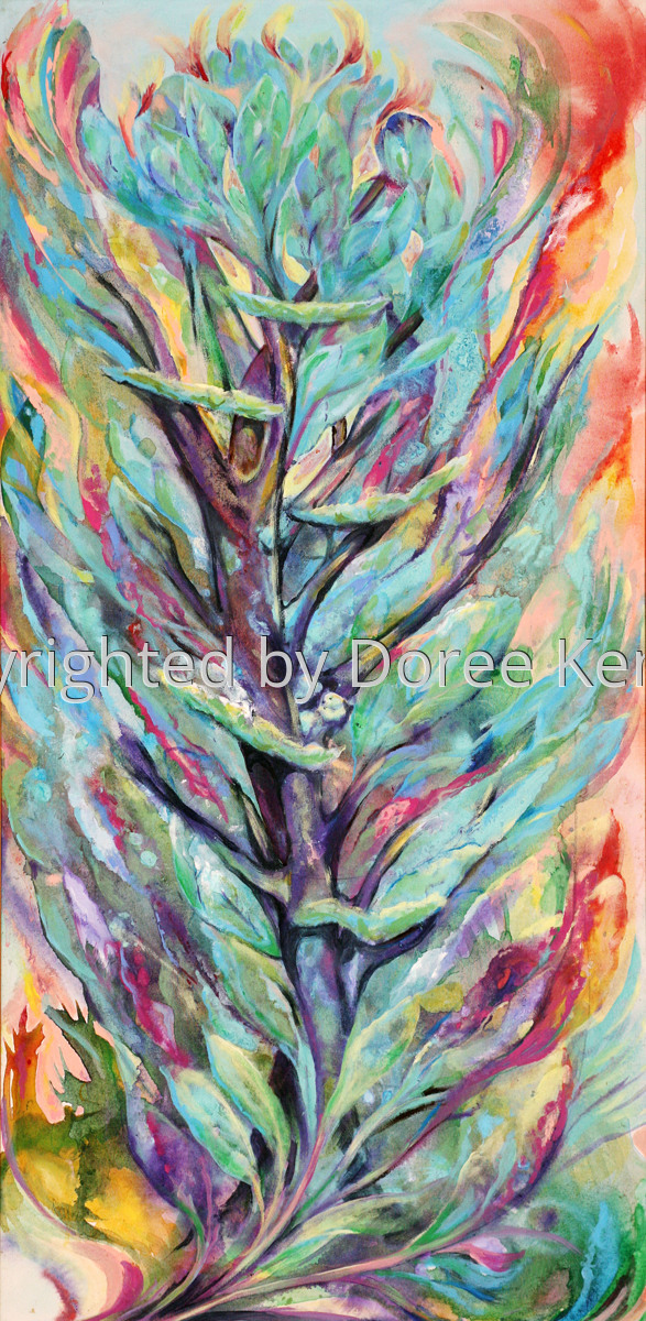 """Abstract acrylic painting by Doree S. Kemler entitled """"Sea Frond."""" (large view)"""
