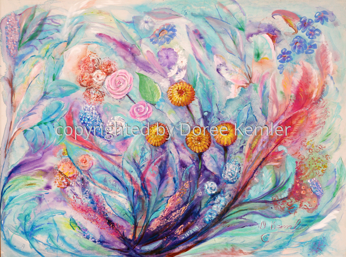 Abstract acrylic painting by Doree S. Kemler entitled Wildflowers. (large view)