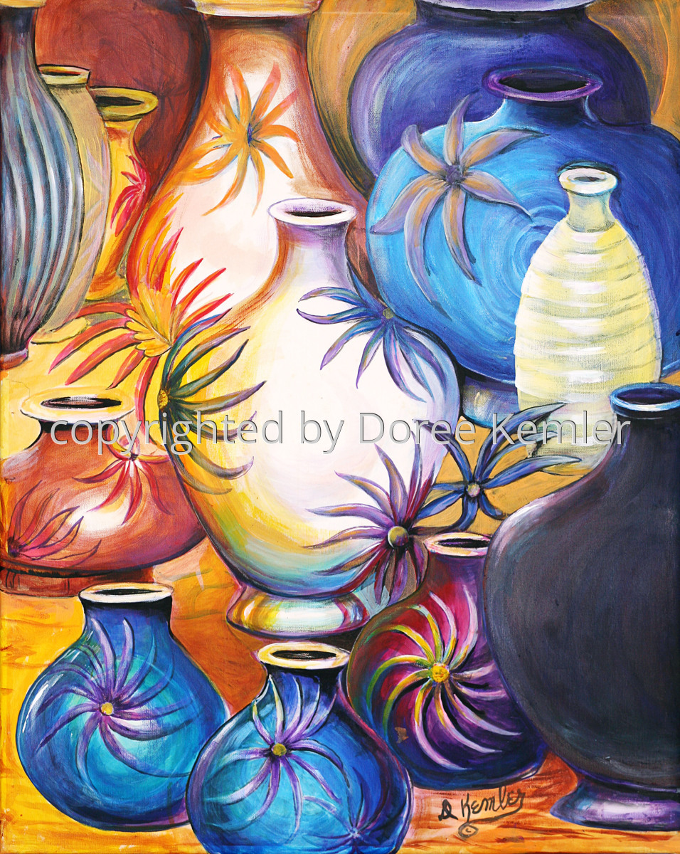 "Abstract acrylic painting by Doree S. Kemler entitled ""A Gathering of Vases 3."" (large view)"