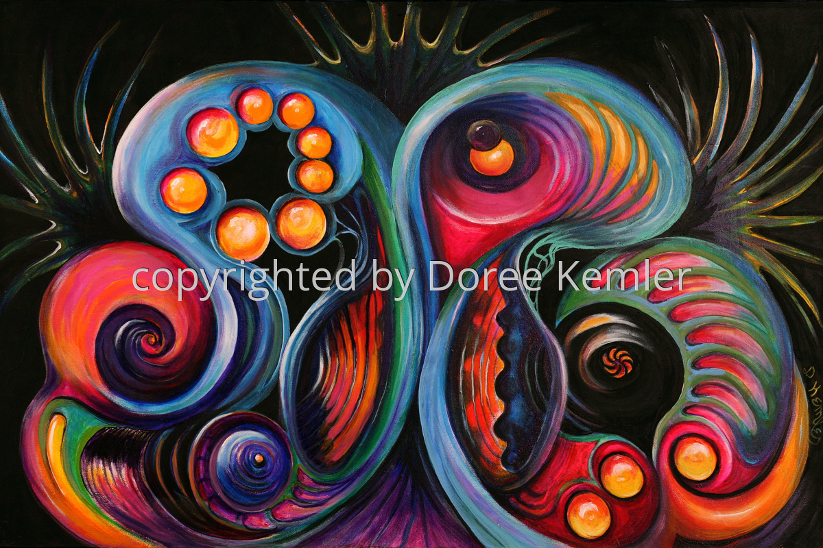 """Abstract acrylic painting by Doree S. Kemler entitled """"Celebration."""" (large view)"""