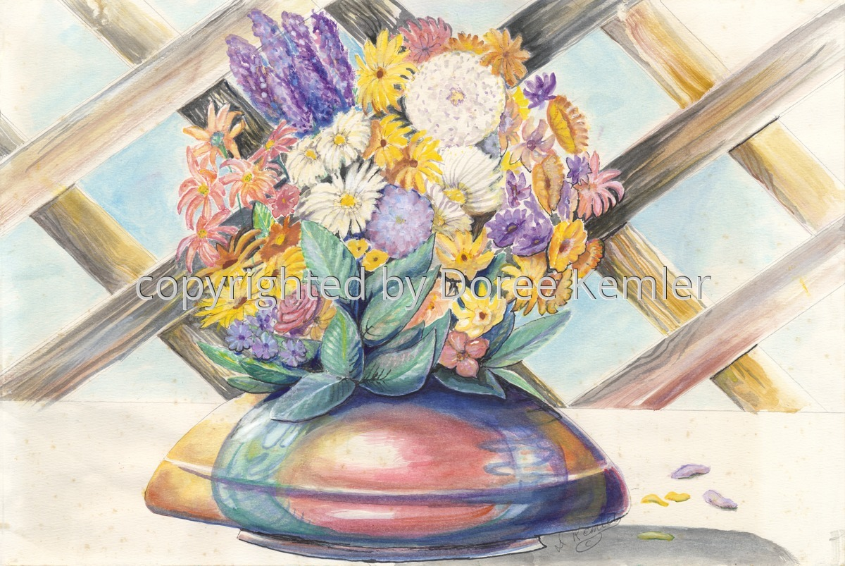 """watercolor painting by Doree S. Kemler entitled """"Flowers in a Brown Bowl."""" (large view)"""