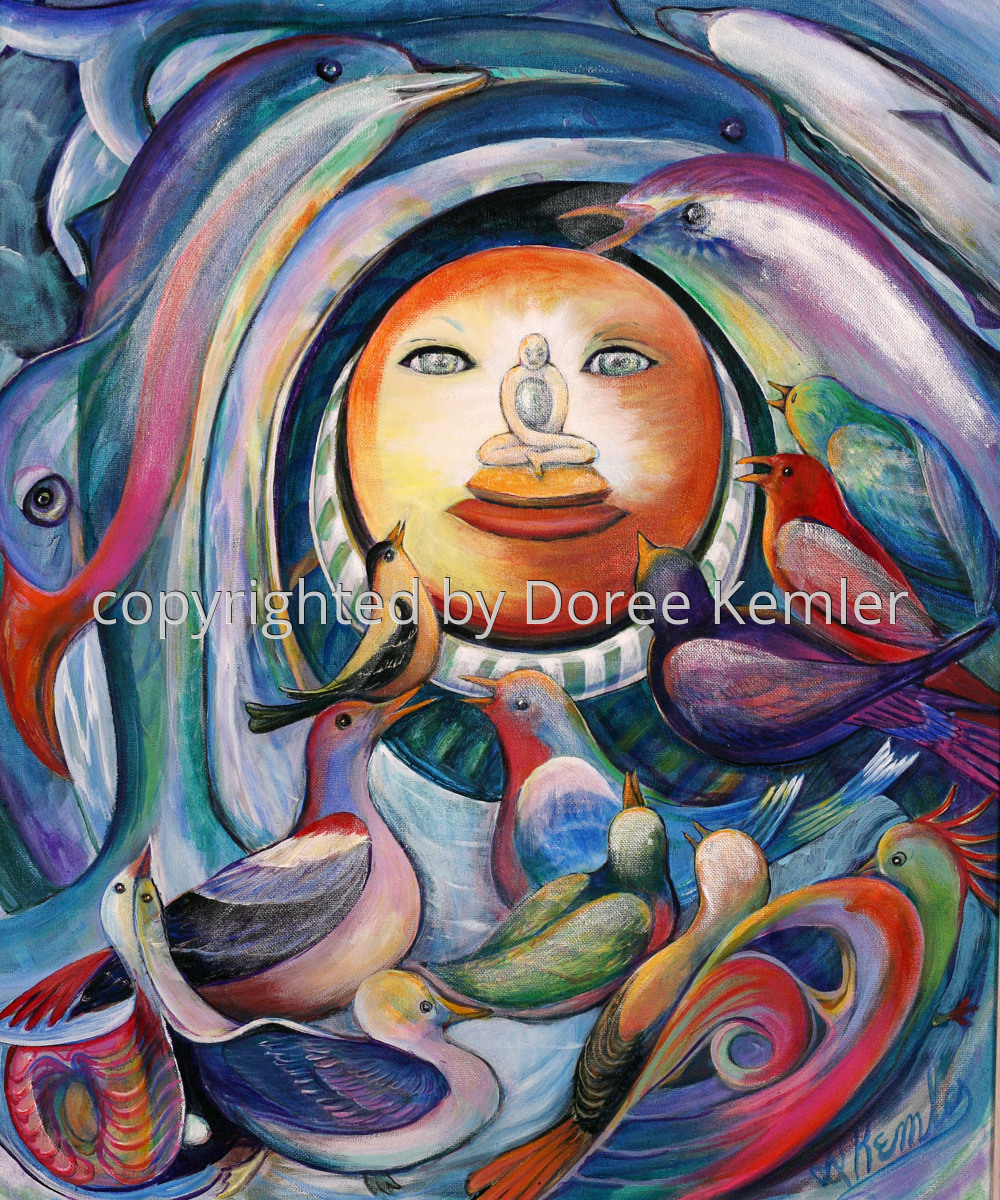 """Abstract acrylic painting by Doree S. Kemler entitled """"Make a Joyful Noise."""" (large view)"""