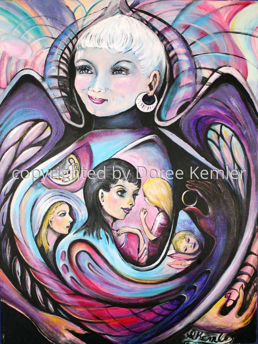 "Abstract acrylic painting by Doree S. Kemler entitled ""My Guardian Angel."" (large view)"