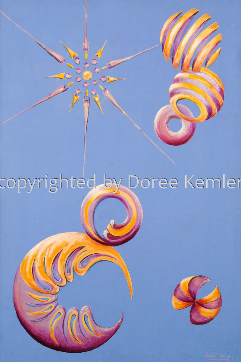 "Abstract acrylic painting by Doree S. Kemler entitled ""Space Travelers."" (large view)"